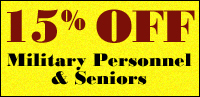 15% OFF Residential interior and/or exterior painting discounts for Military Personnel and Seniors